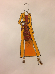 Career day Look Denay Franks Colorful tweed, with yellow wool incorporated within the dress and also a wool belt. All with a matching coat.