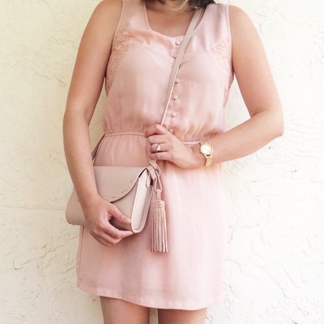 A Pretty Penny OOTD Blush Dress and Zara Leather Bag